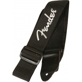 FENDER STRAP POLY BLACK PEWTER LOGO