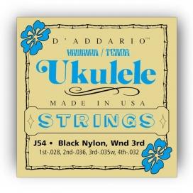 D'ADDARIO J54 UKULELE TENORE HAWAII BLACK NYLON