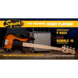 SQUIER AFFINITY PRECISION BASS PACK RUMBLE 15 AMP BROWN SUNBURST
