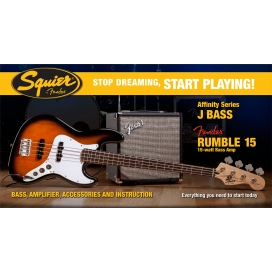SQUIER AFFINITY JAZZ BASS PACK RUMBLE 15 AMP BROWN SUNBURST