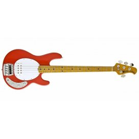 MUSIC MAN STINGRAY CLASSIC 4 CORAL RED BIRD'S EYE NECK