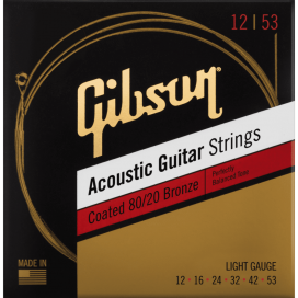 GIBSON SAG-CBRW12 12/53 COATED 80/20 BRONZE ACOUSTIC GUITAR STRINGS